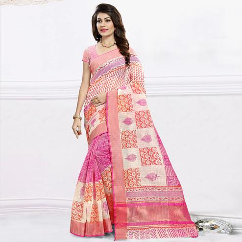 Pleasant Pink & White Colored Festive Wear Printed Cotton Saree