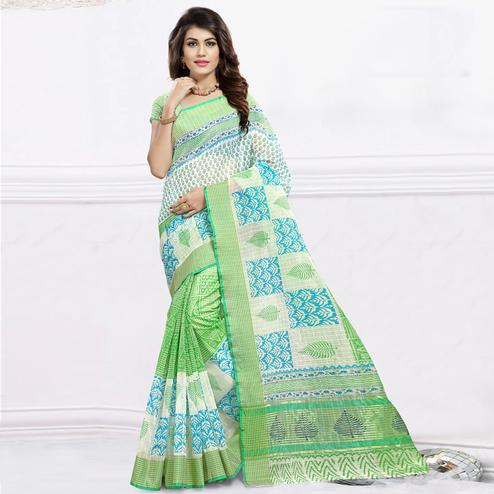 Unique Light Green & White Colored Festive Wear Printed Cotton Saree