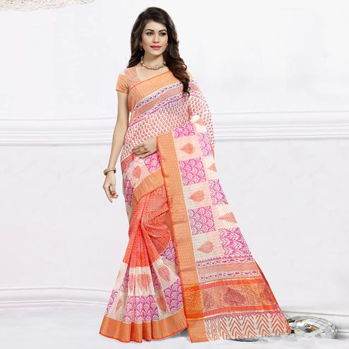Refreshing Orange & White Colored Festive Wear Printed Cotton Saree