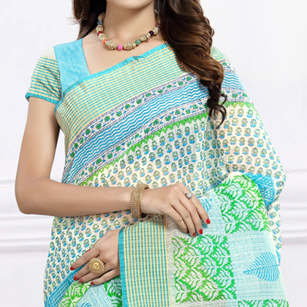 Elegant Aqua Blue & White Colored Festive Wear Printed Cotton Saree