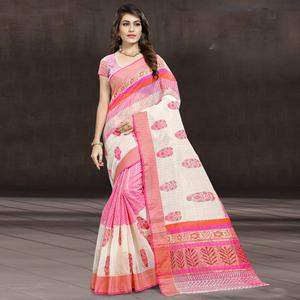 Alluring Pink & White Colored Festive Wear Printed Cotton Saree