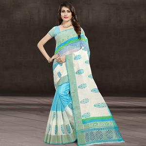 Radiant Aqua Blue & White Colored Festive Wear Printed Cotton Saree