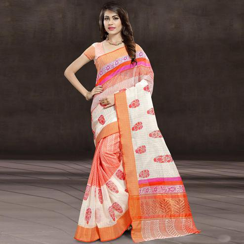 Sensational Orange & White Colored Festive Wear Printed Cotton Saree