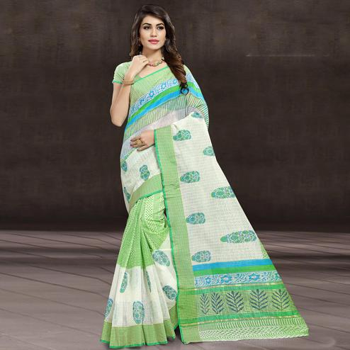 Opulent Green & White Colored Festive Wear Printed Cotton Saree