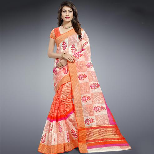 Dazzling Orange & White Colored Festive Wear Printed Cotton Saree