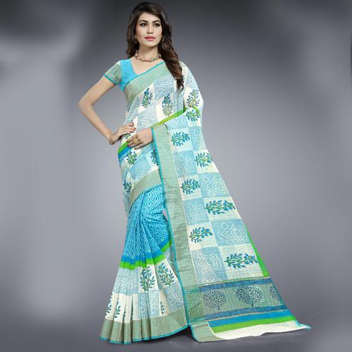 Flattering Aqua Blue & White Colored Festive Wear Printed Cotton Saree