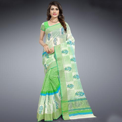 Breathtaking Green & White Colored Festive Wear Printed Cotton Saree