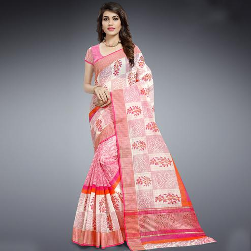 Impressive Pink & White Colored Festive Wear Printed Cotton Saree