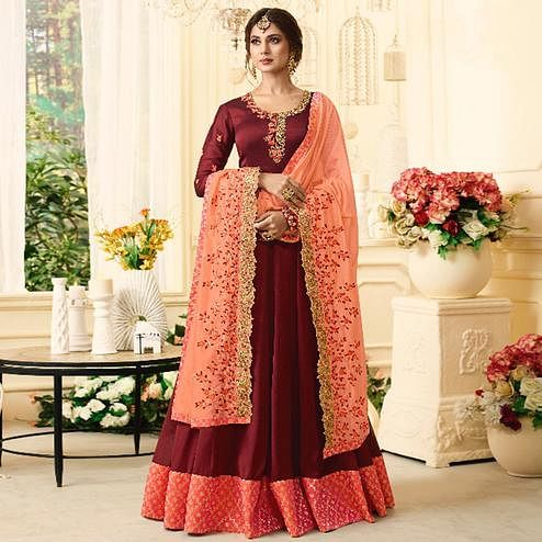 Elegant Maroon Colored Partywear Embroidered Georgette Anarkali Suit