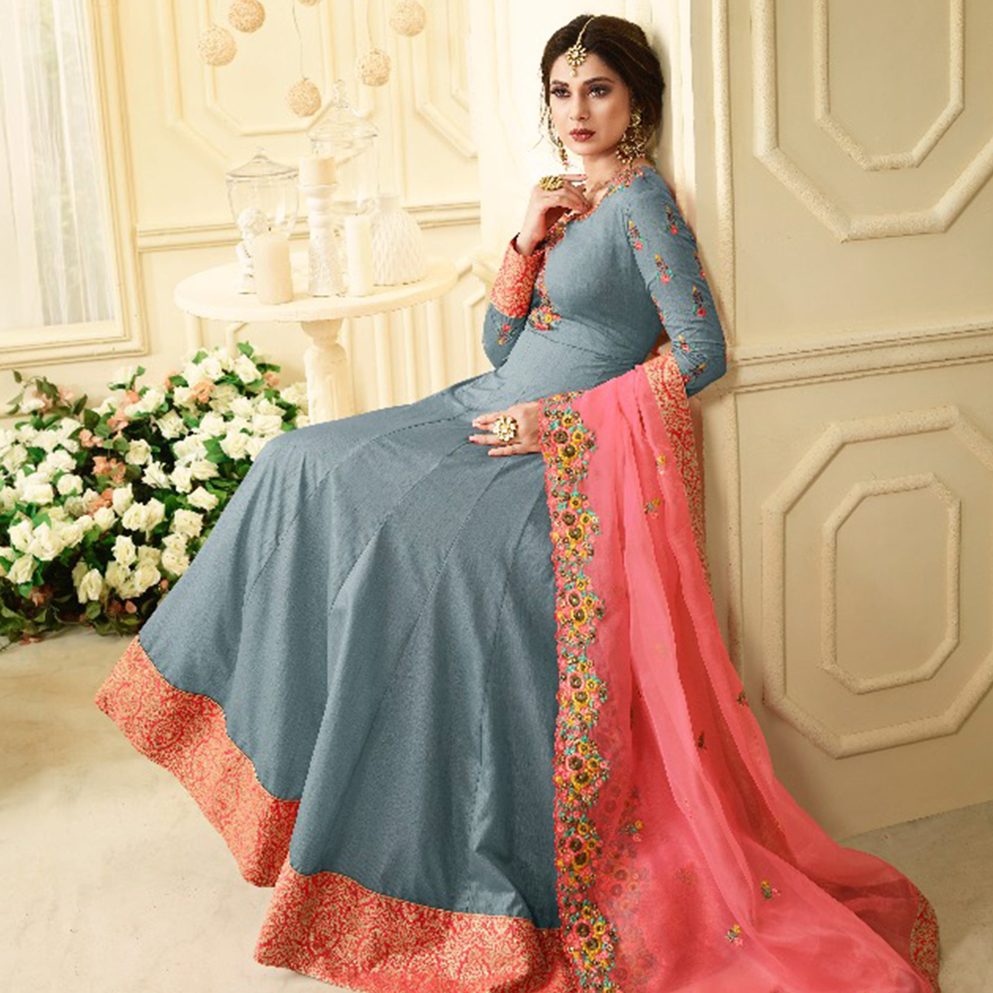 Radiant Grey Colored Partywear Embroidered Silk Anarkali Suit