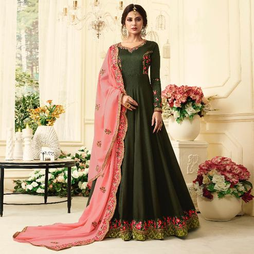 Opulent Olive Green Colored Partywear Embroidered Silk Anarkali Suit