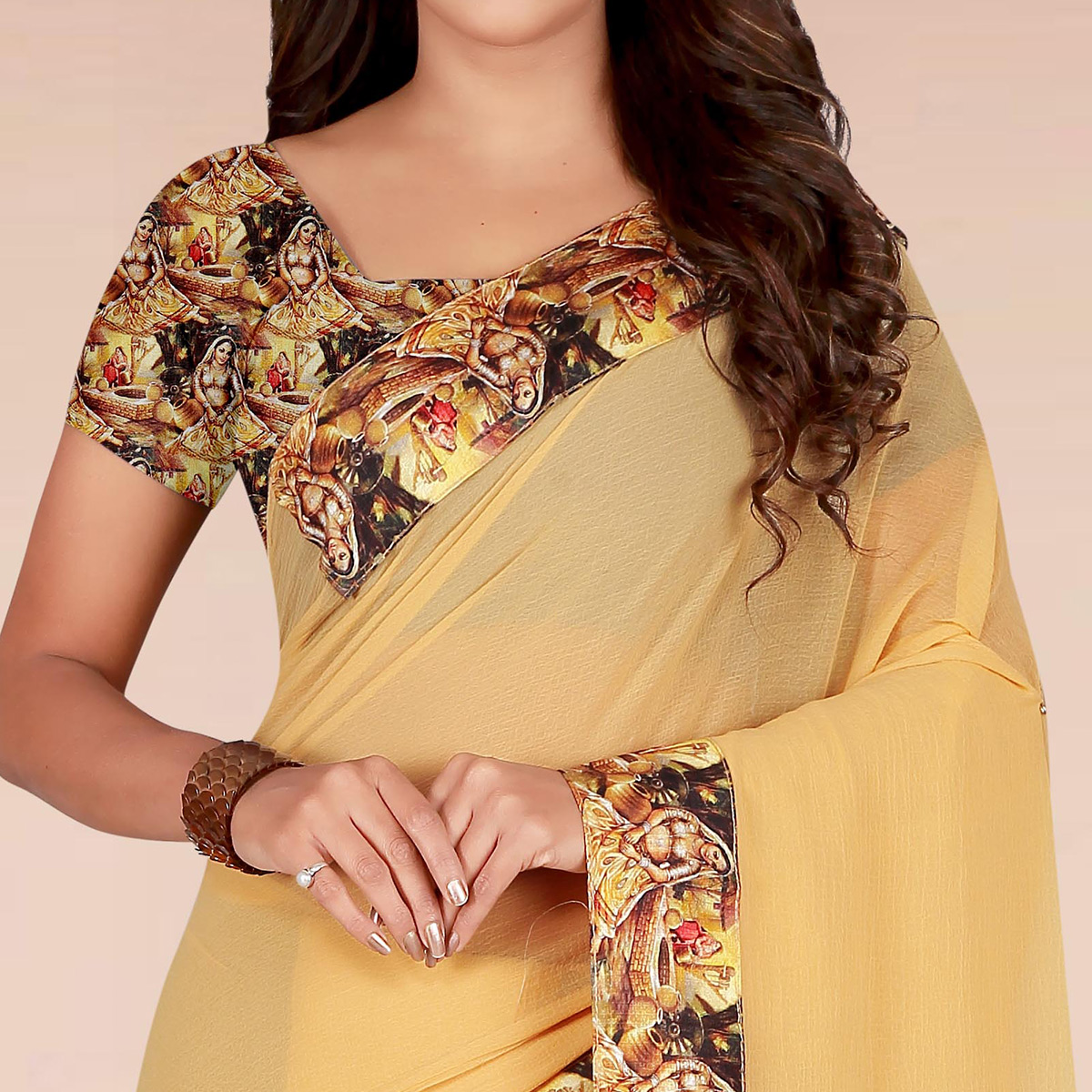 Intricate Beige Colored Casual Wear Printed Chiffon Saree