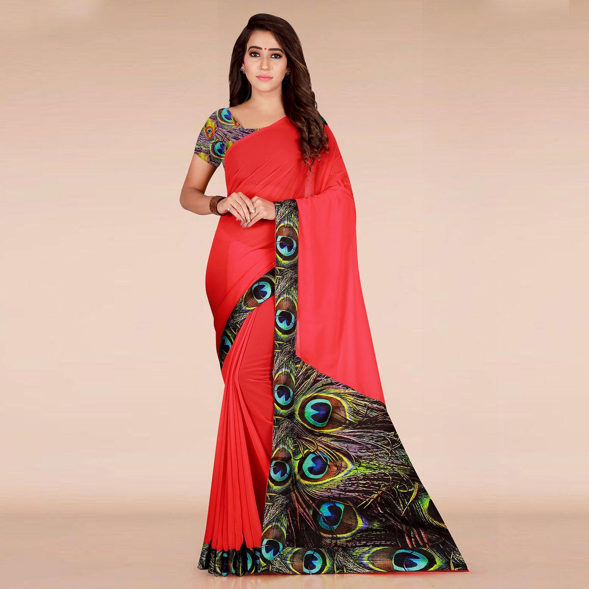 Pleasant Red Colored Casual Wear Printed Georgette Saree