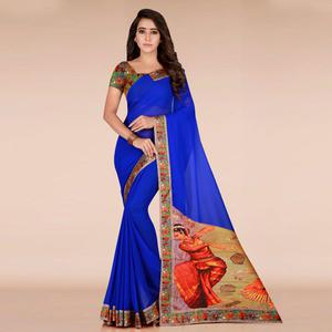 Refreshing Royal Blue Colored Casual Wear Printed Georgette Saree