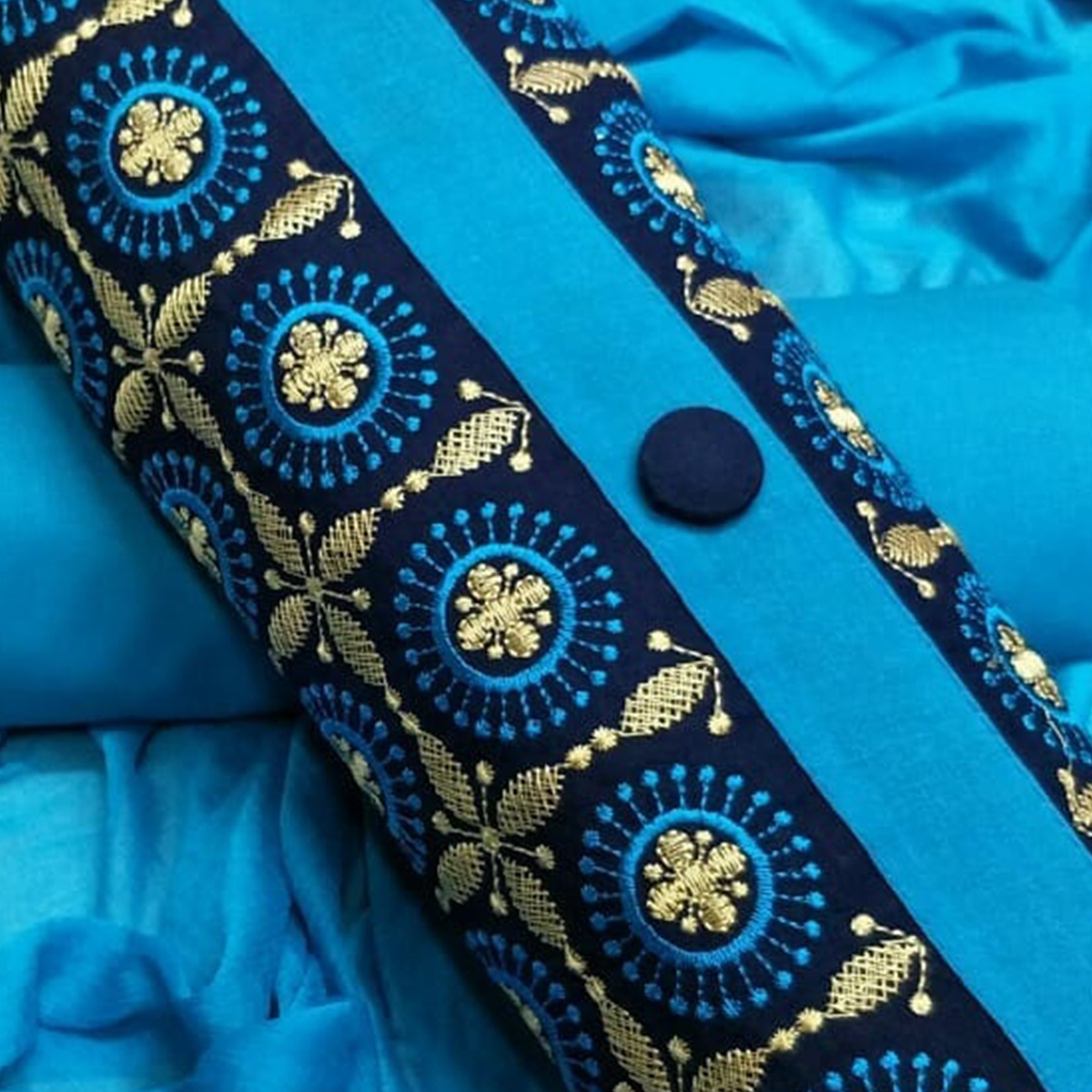 Appealing Sky Blue Colored Partywear Embroidered Cotton Dress Material