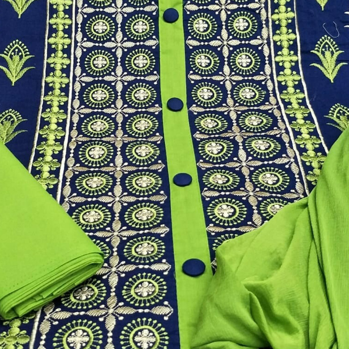 Pleasant Green Colored Partywear Embroidered Cotton Dress Material