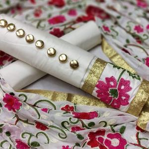 Mesmerising White Colored Partywear Embroidered Cotton Dress Material