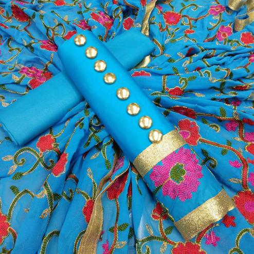Eye-Catching Sky Blue Colored Partywear Embroidered Cotton Dress Material