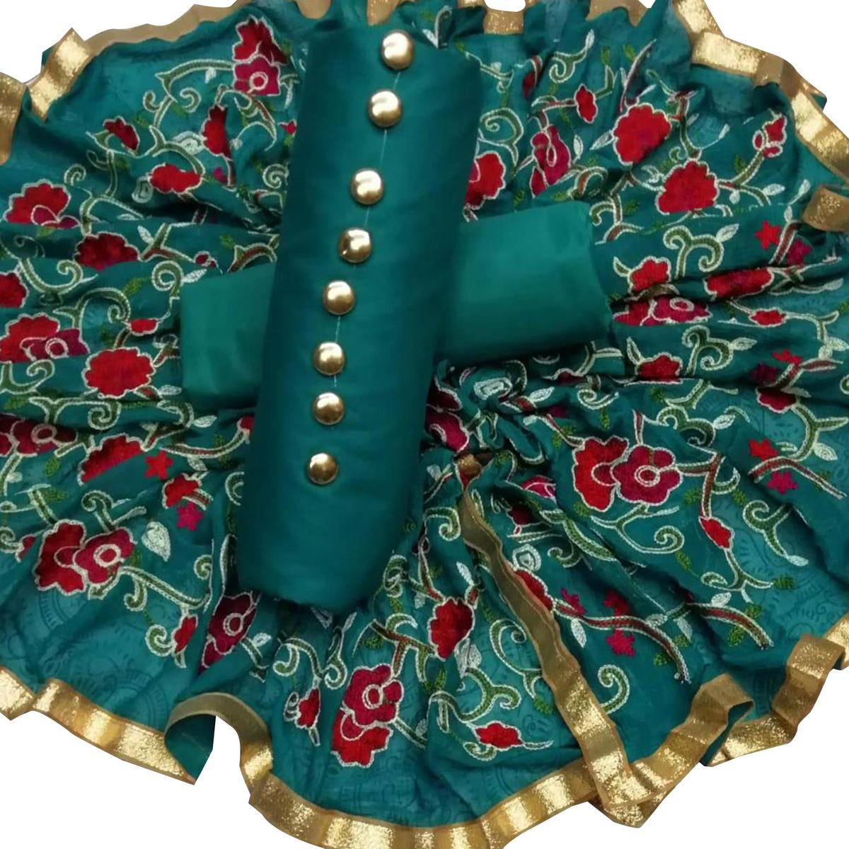 Unique Teal Green Colored Partywear Embroidered Cotton Dress Material