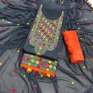 Energetic Gray Colored Partywear Embroidered Chanderi Silk Dress Material