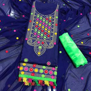 Arresting Blue Colored Partywear Embroidered Chanderi Silk Dress Material