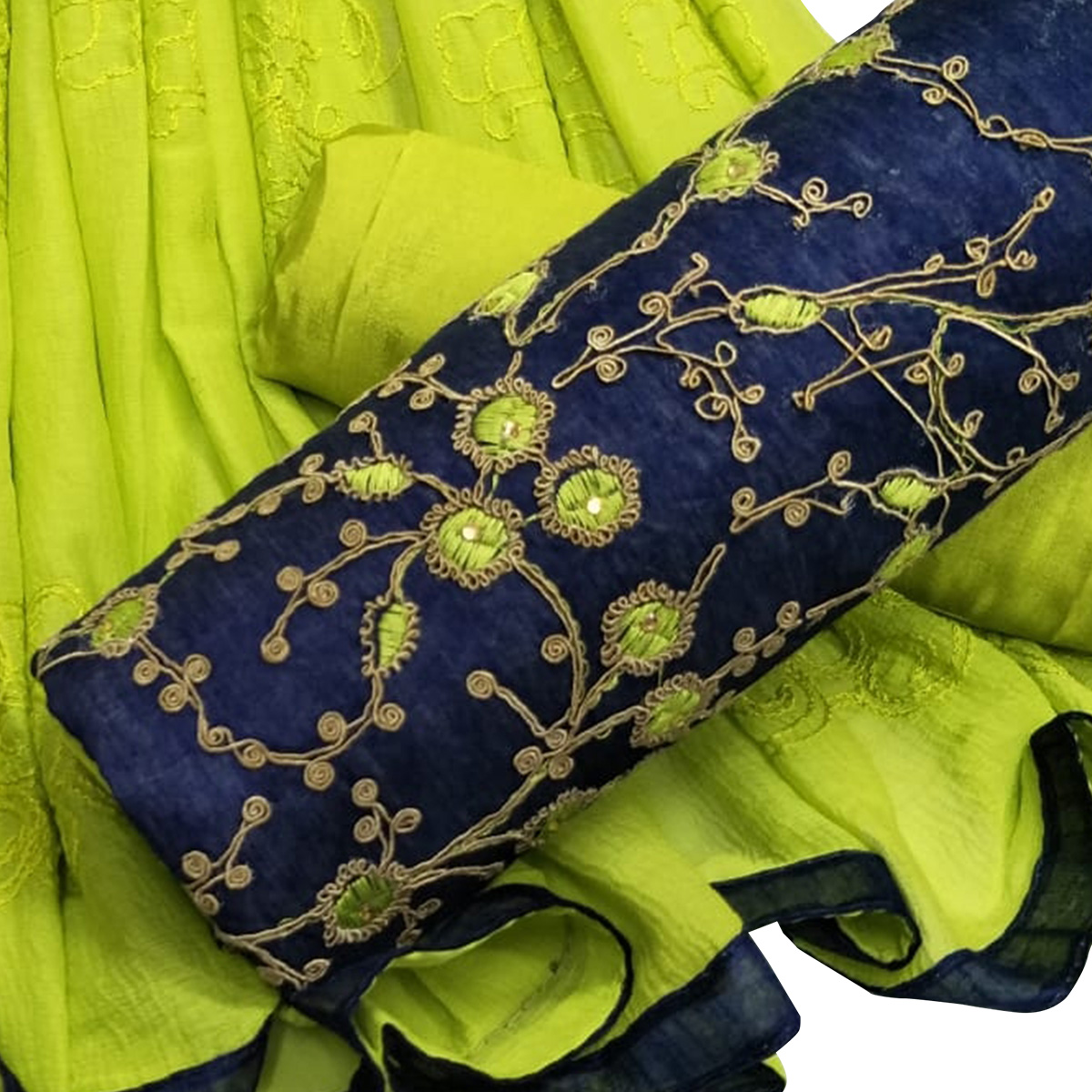 Energetic Blue-Green Colored Partywear Embroidered Modal Dress Material