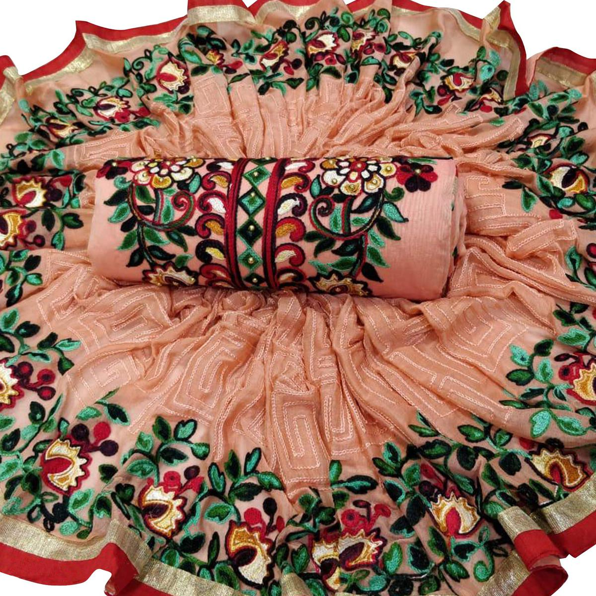 Hypnotic Peach Color Partywear Embroidered Cotton Dress Material
