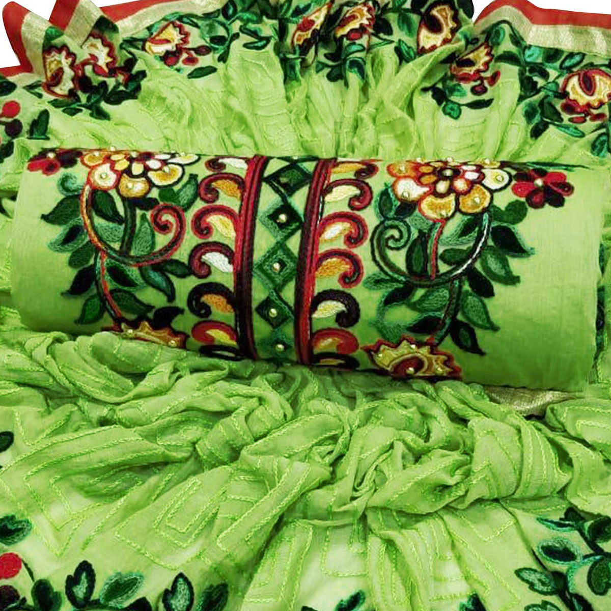 Marvellous Light Green Colored Partywear Embroidered Cotton Dress Material