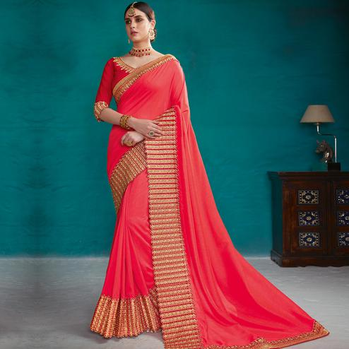 Entrancing Crimson Red Colored Party Wear Embroidered Art Silk Saree