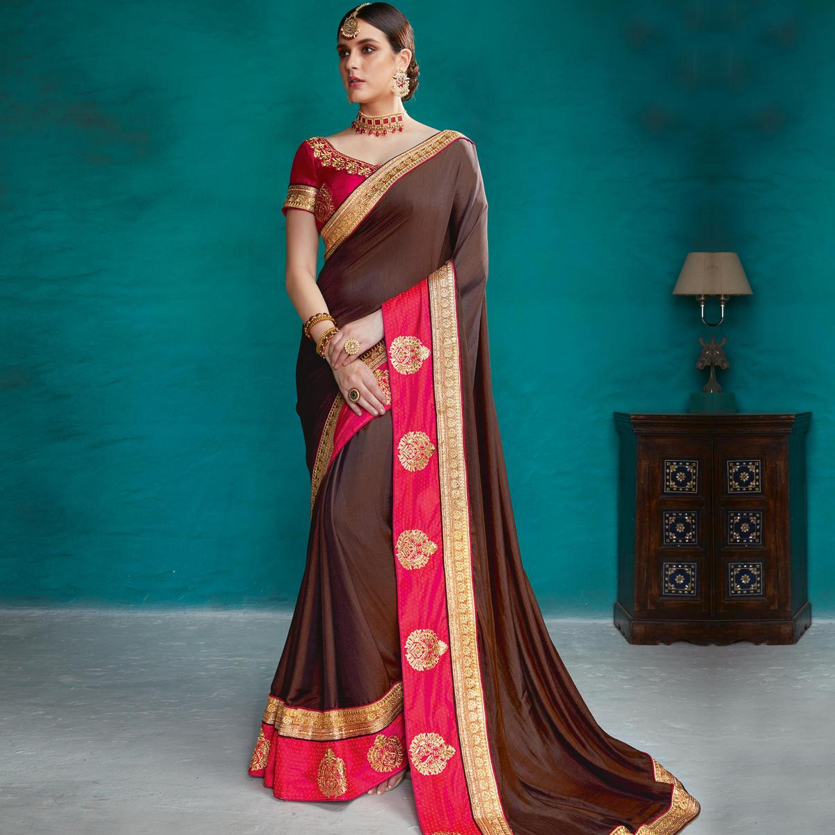 Imposing Brown Colored Party Wear Embroidered Art Silk Saree