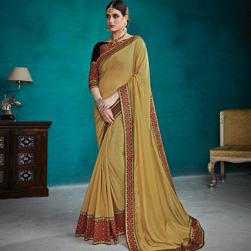 Ideal Golden Yellow Colored Party Wear Embroidered Art Silk Saree