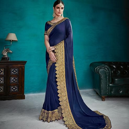 Engrossing Navy Blue Colored Party Wear Embroidered Silk Georgette Saree