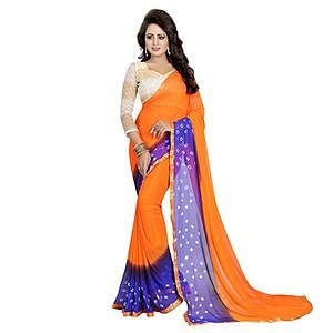 Orange - Blue Bandhani Style Chiffon Saree