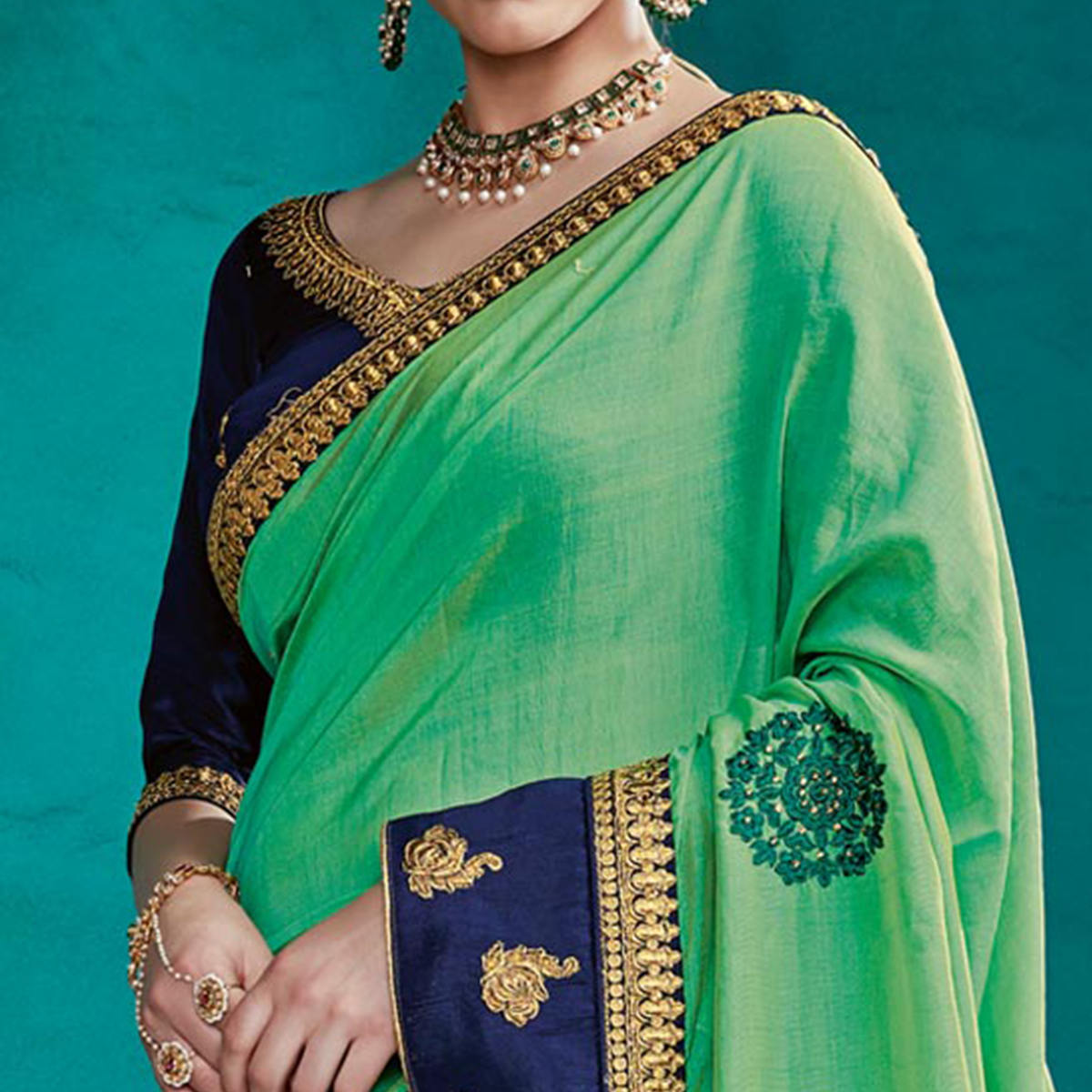 Surpassing Green Colored Party Wear Embroidered Art Silk Saree