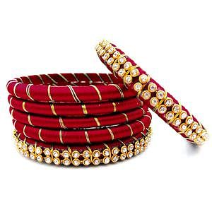 Traditional Maroon Colored Reshami Thread & Stone Work Bangles - Set of 6