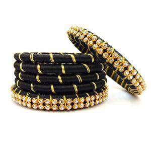 Adorning Black Colored Reshami Thread & Stone Work Bangles - Set of 6