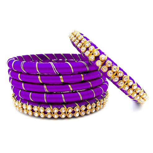 Lovely Dark Purple Colored Reshami Thread & Stone Work Bangles - Set of 6