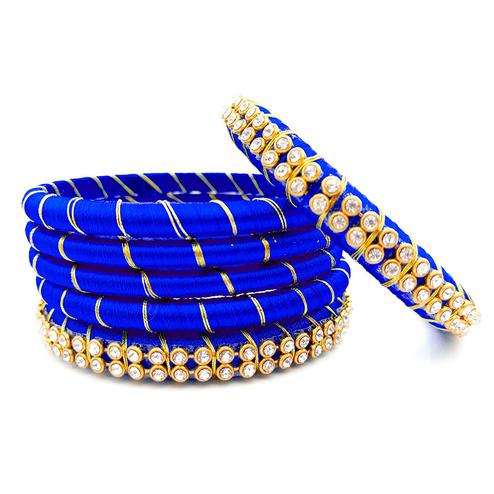 Classy Royal Blue Colored Reshami Thread & Stone Work Bangles - Set of 6