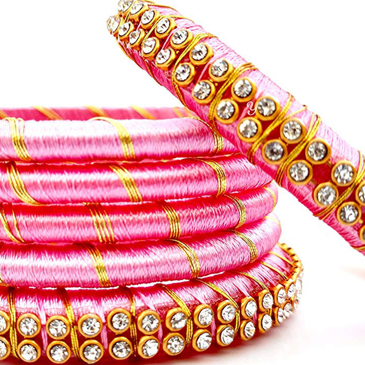 Pretty Pink Colored Reshami Thread & Stone Work Bangles - Set of 6