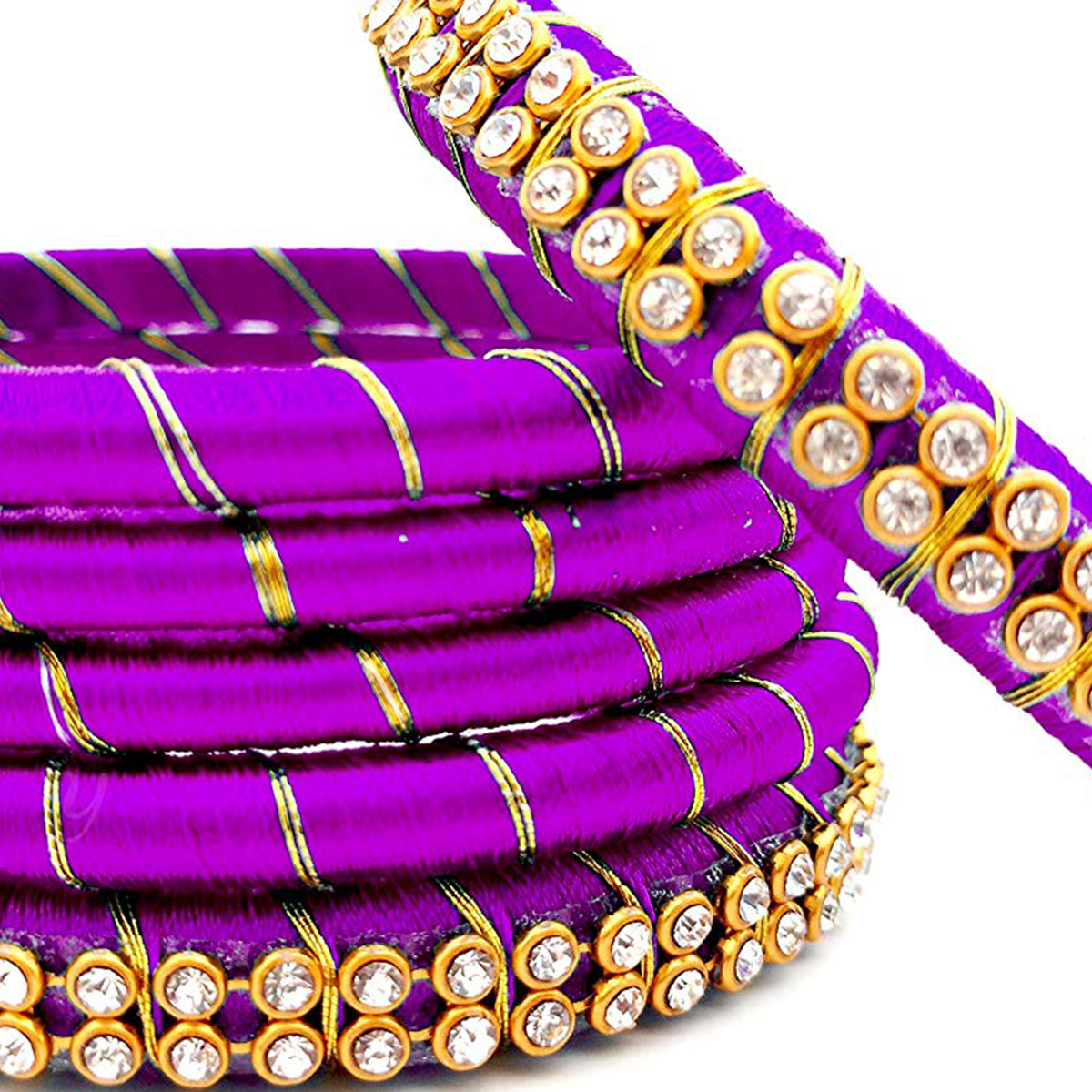 Favorite Purple Colored Reshami Thread & Stone Work Bangles - Set of 6