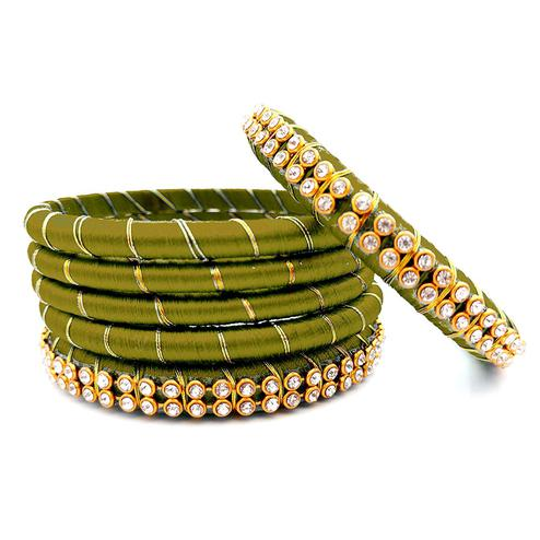 Different Olive Green Colored Reshami Thread & Stone Work Bangles - Set of 6