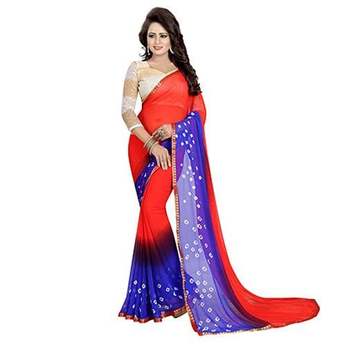 Deep Red - Blue Bandhani Style Chiffon Saree