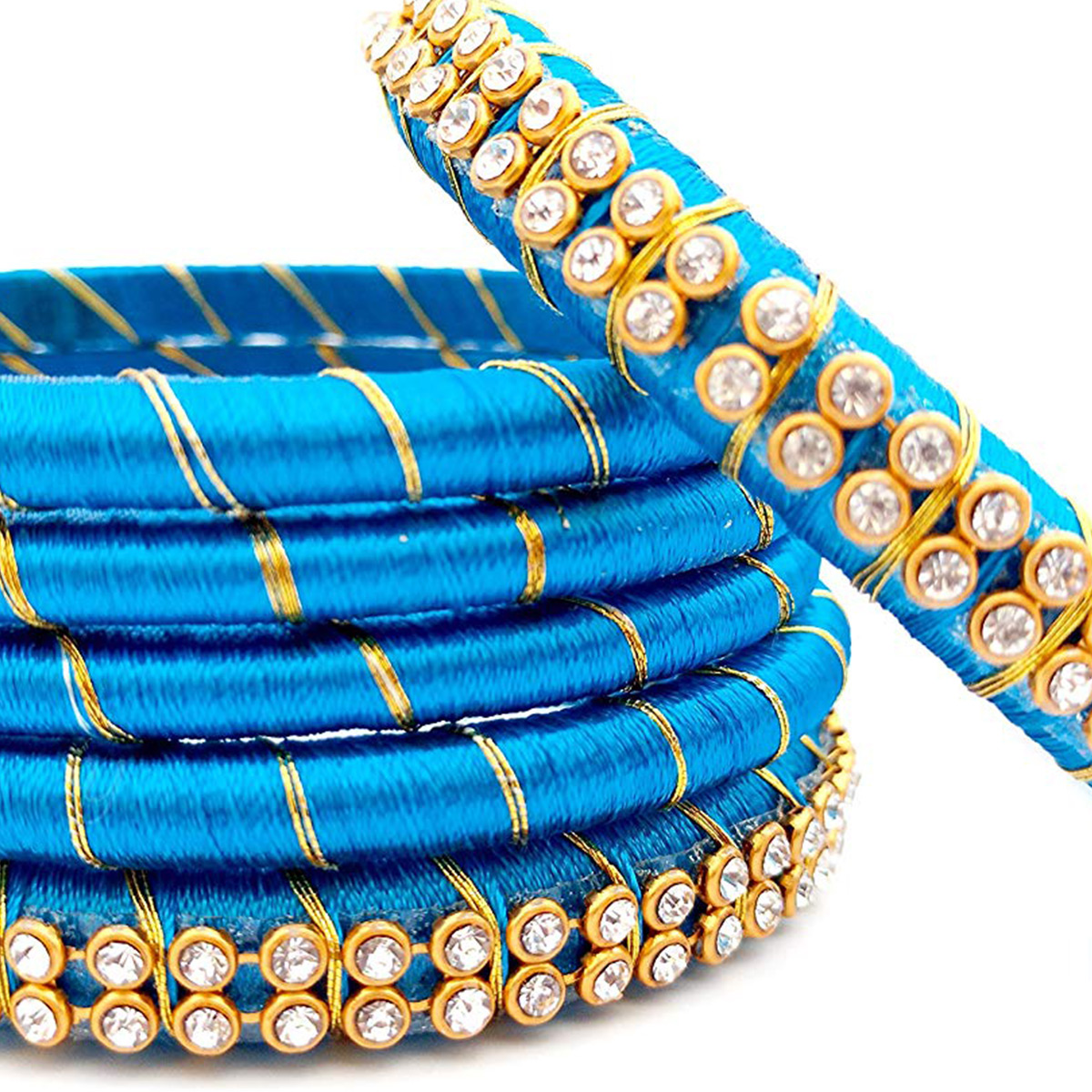Glowing Sky Blue Colored Reshami Thread & Stone Work Bangles - Set of 6