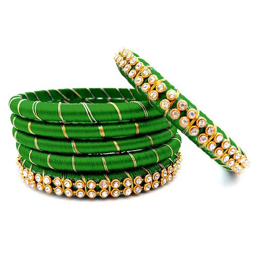 Amazing Green Colored Reshami Thread & Stone Work Bangles - Set of 6