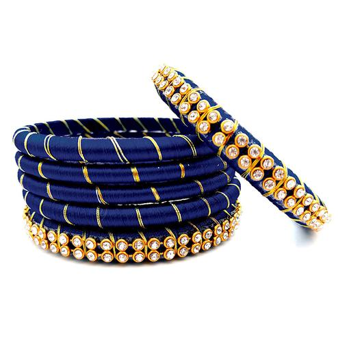 Demanding Navy Blue Colored Reshami Thread & Stone Work Bangles - Set of 6