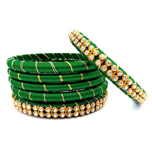 Beautiful Dark Green Colored Reshami Thread & Stone Work Bangles - Set of 6