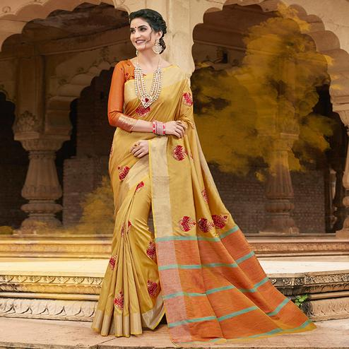 Intricate Yellow Colored Festive Wear Embroidered Satin Silk Saree