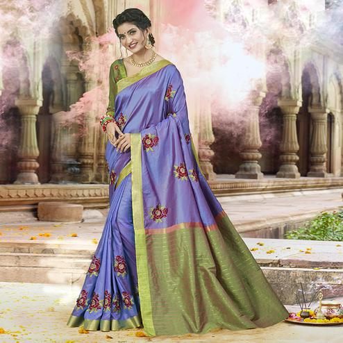 Desirable Violet Colored Festive Wear Embroidered Satin Silk Saree
