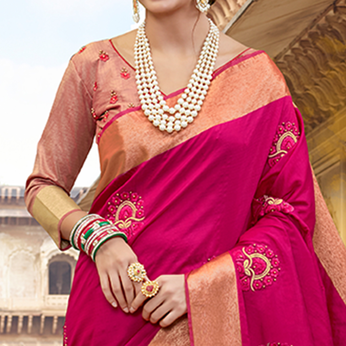 Opulent Dark Pink Colored Festive Wear Embroidered Silk Saree