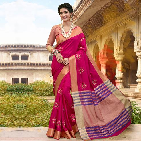 Opulent Dark Pink Colored Festive Wear Embroidered Satin Silk Saree